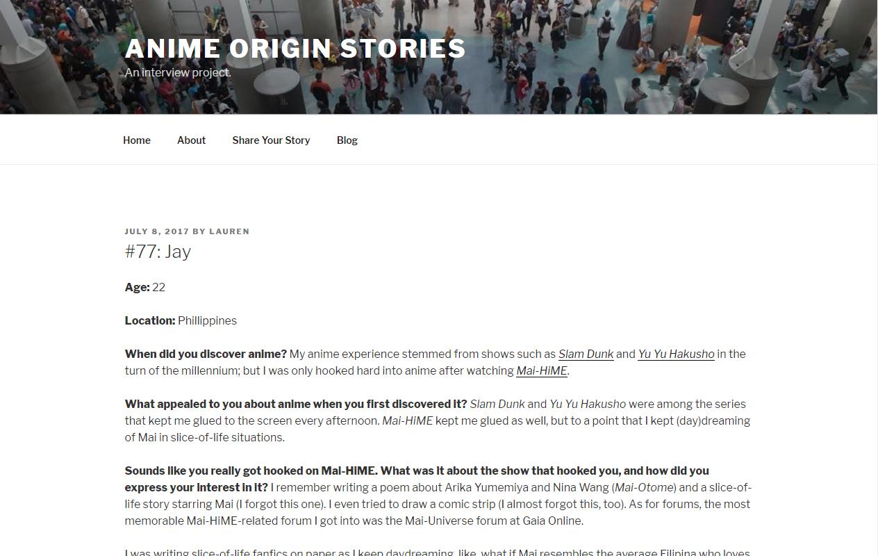 What's my Anime Origin story?